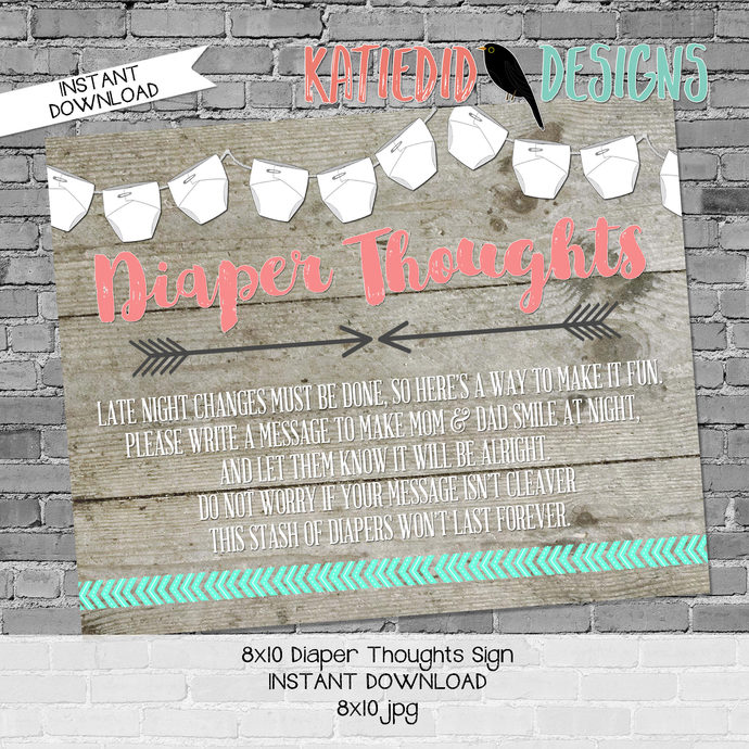 late night diaper game sign mint coral invite Tribal baby shower invitation