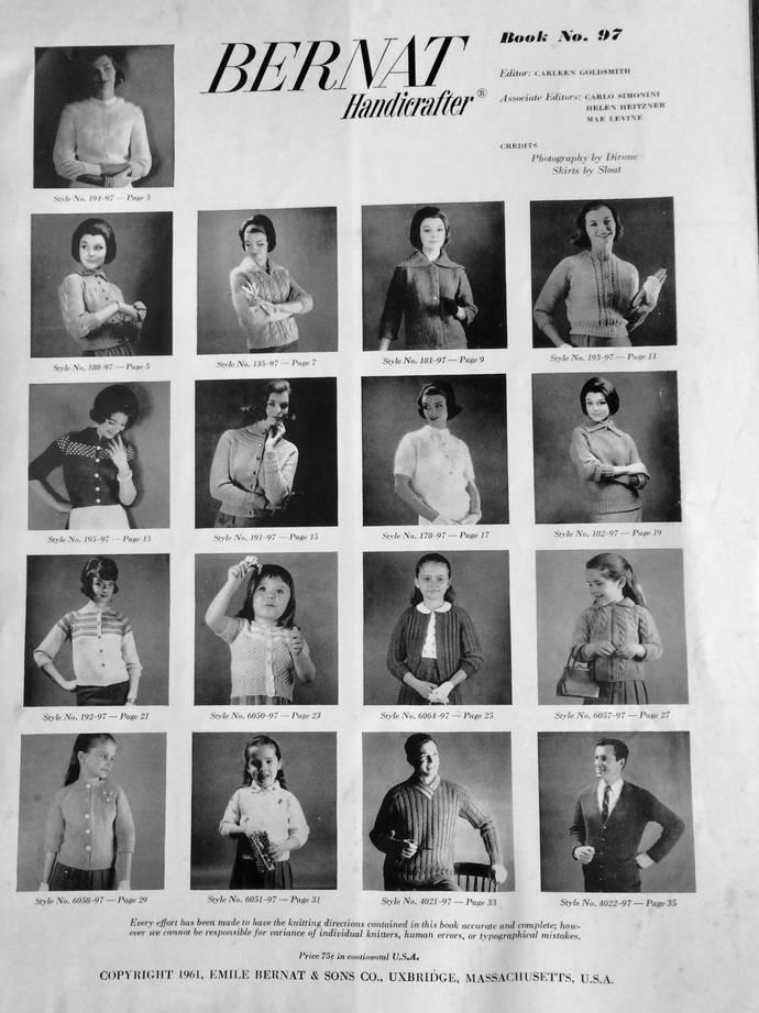 Vintage 1960's  Bernat Raglans Knitting BookNo. 97 Light to Bulky Knit Styles