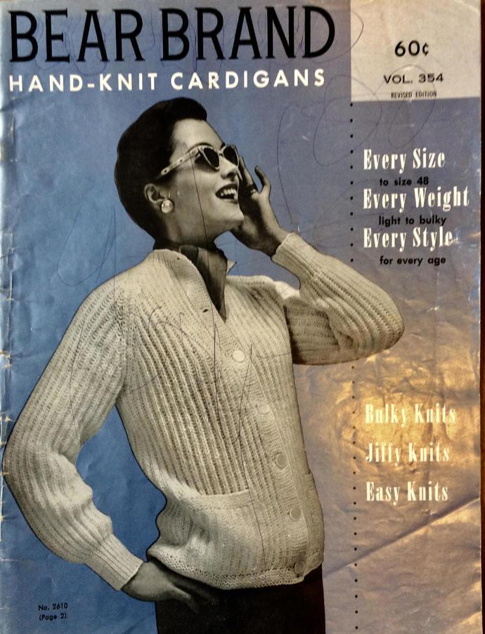 Vintage 1950's  Bear Brand Hand-Knit Cardigan Booklet Volume 364 Light to Bulky