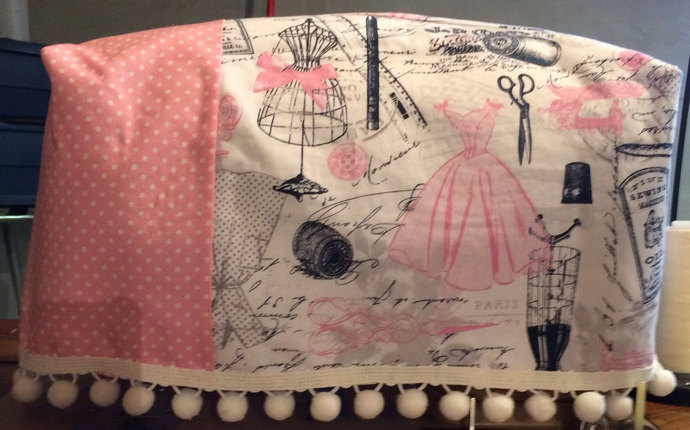 Sewing Machine Cover Pink Black Vintage Sewing Retro Dress Form Machine Cover