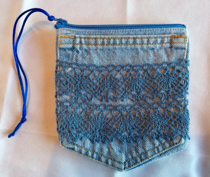 Denim  Wallet Coin Purse Womens Wallet Handmade Wallet Denim Wallet Gift For Her