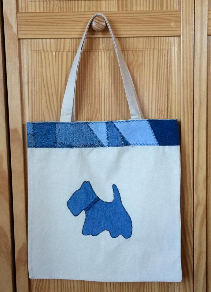 Scotty & Denim Patchwork Tote Bag Patchwork Bag Shoulder Bag Scottie Dog Tote