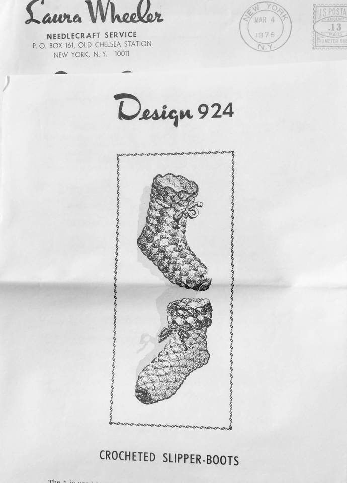Laura Wheeler Vintage Crochet Pattern to Make Crochet Slipper Boots ~ 1970's ~