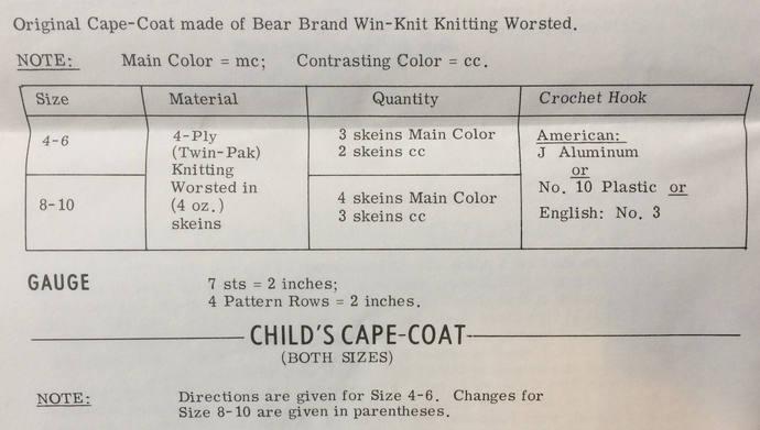 Laura Wheeler Vintage Crochet Pattern to Make Child's Crochet Cape-Coat ~ 1960's
