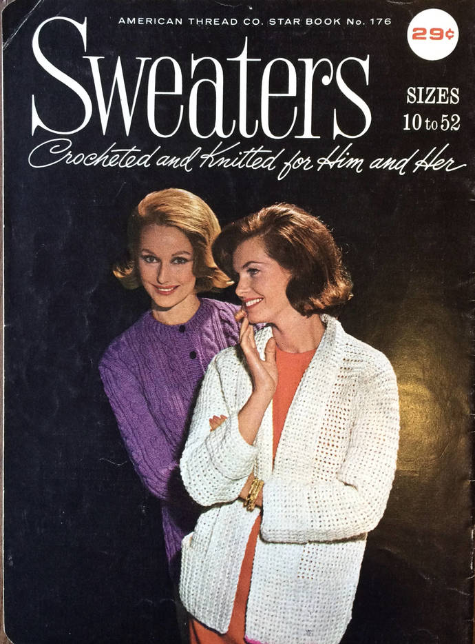 American Thread Co. Star Book No. 176 Knit and Crochet 60's Vintage Book Retro