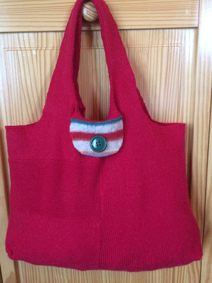 Felted Wool Shoulder Bag Boho Bag Wool Purse Felted Purse Red Felted Tote Bag