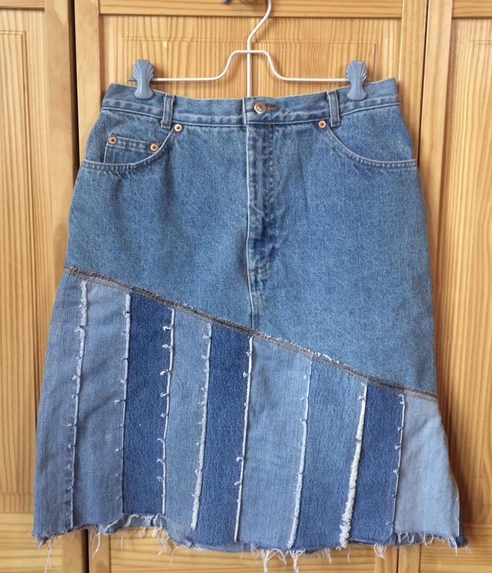Up-cycled  Denim Skirt Blue Jeans Skirt  Pieced Denim Skirt Up-cycled Jean Skirt