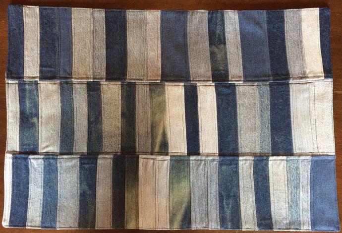 Upcycled Denim Mat Patchwork Mat Denim Mug Rag Rug Recycled Rug Handmade Throw