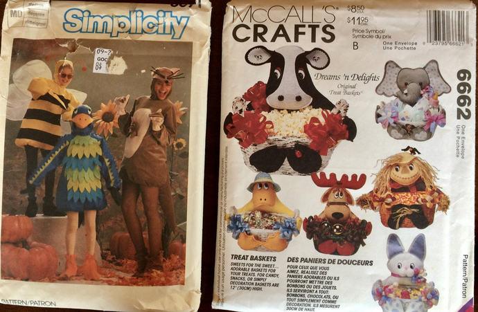 Pair Vintage Patterns:  Child's  Costume Pattern Bird Bumble Bee Kangaroo