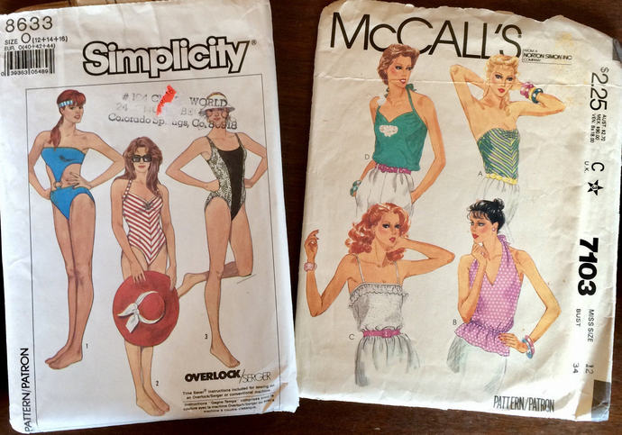 Pair Vintage Summer Patterns 1980's , McCall's Misses Summer Tops, Simplicity