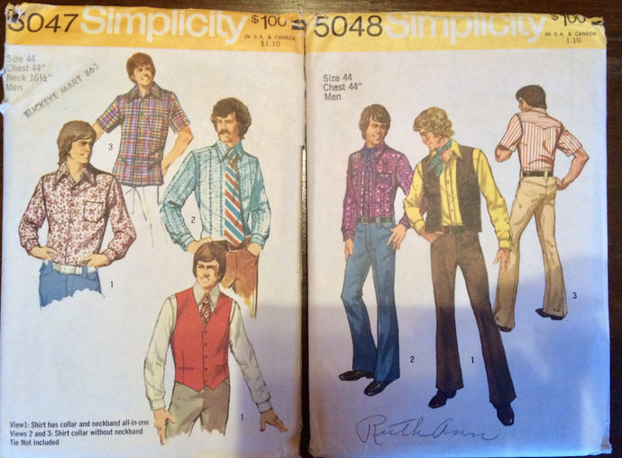 Pair  Simplicity Men's Pattern 5047 & 5048 Vintage Shirts and Vest, pants,