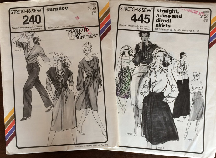 Stretch & Sew Patterns 1979 : A-line Skirt, Dirndl Skirt, Surplice- Make in