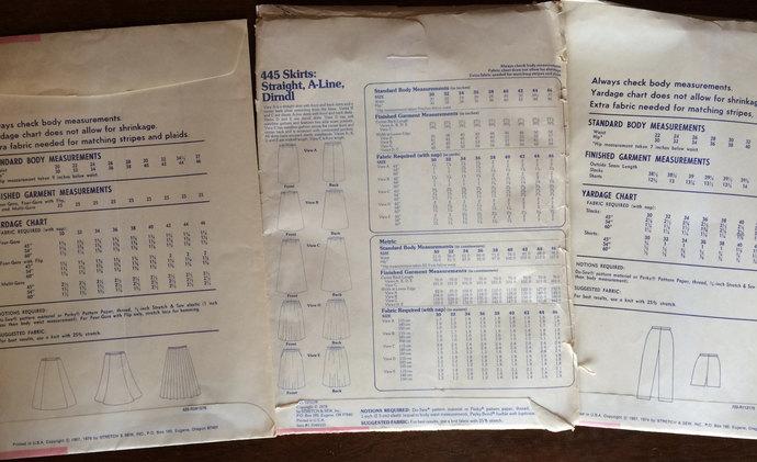 Vintage Stretch & Sew Patterns 1960's Lot of 3 A-line Skirt, Dirndl Skirt. Gored