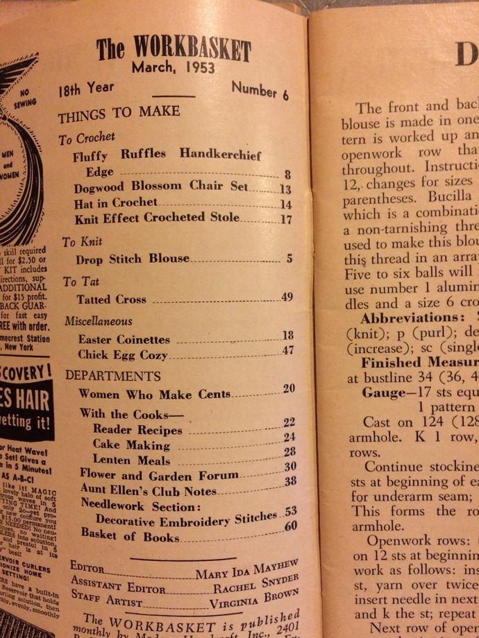 Workbasket Magazine 9 Issues 1948 through 1956 Home and Needlecraft Magazines