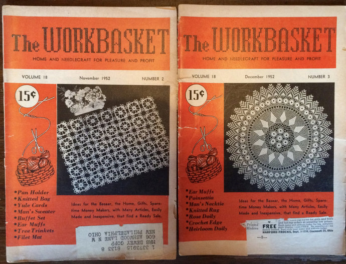 Workbasket Magazine 2 Issues 1952 & 5 Issues 1951 Home and Needlecraft Magazines