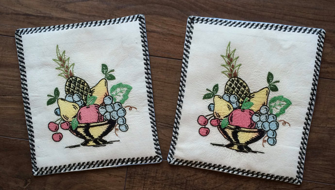 vintage linen kitchen hot pads upcylced embroidered handmade hot pad repurposed - Kitchen Hot Pads