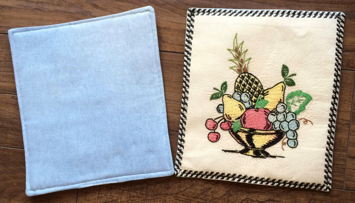 Vintage Linen Kitchen Hot Pads Upcylced Embroidered Handmade Hot Pad Repurposed