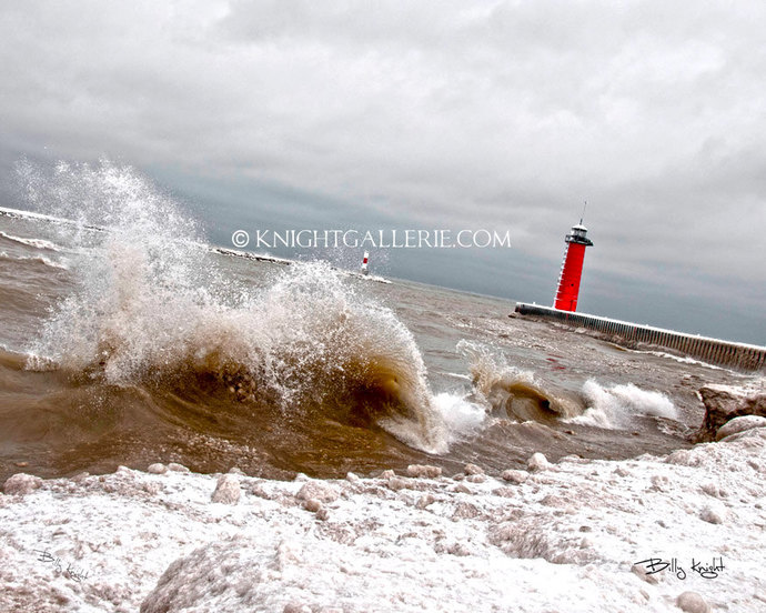 Winter Lighthouse Portrait: Mid February Afternoon in Kenosha, Wisconsin