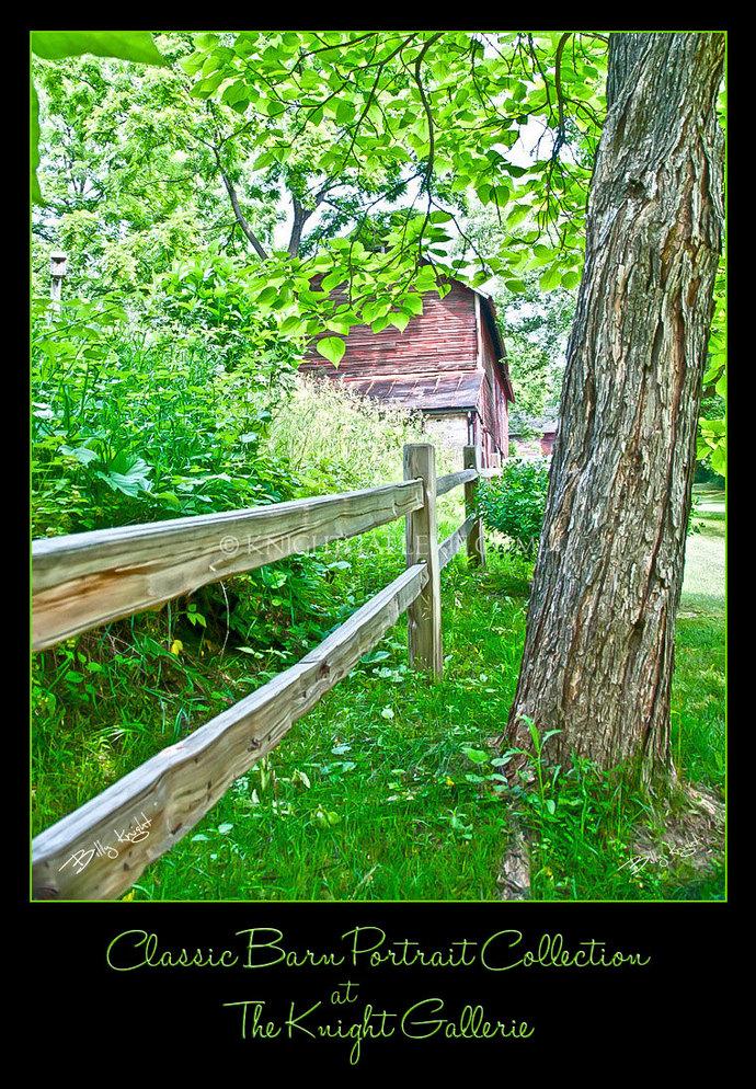 Barn Portrait: A Fence, a Tree, and a Barn