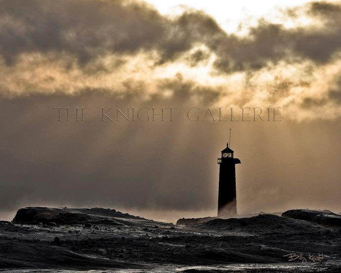Lake Michigan Portrait: Frozen Kenosha Lighthouse