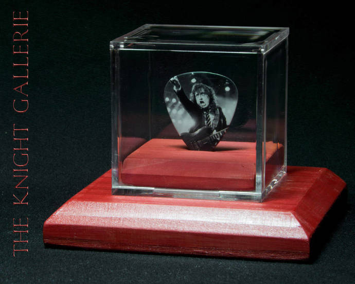 Commemorative guitar pick and display case: AC/DC, Angus Young