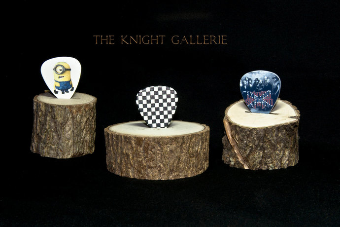 Guitar Pick Display Pedestal: made from a tree branch!