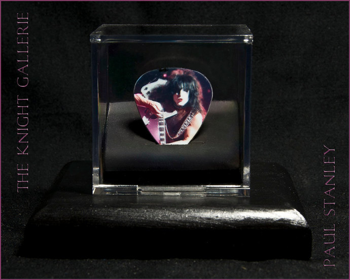 Paul Stanley with his Ibanez: commemorative guitar pick and display case