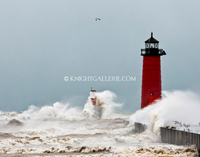 Lighthouse Portrait: November Storm in Kenosha, Wisconsin