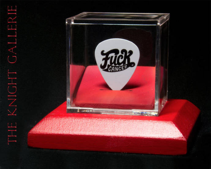 F*** Cancer: guitar pick and display case
