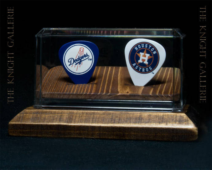 Dodgers and Astros: two guitar picks and display case