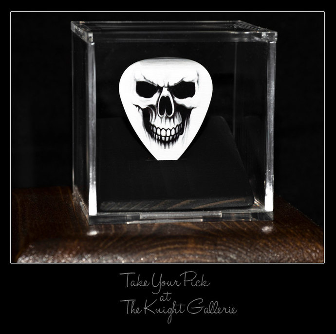 Skull Face Guitar Pick and display case