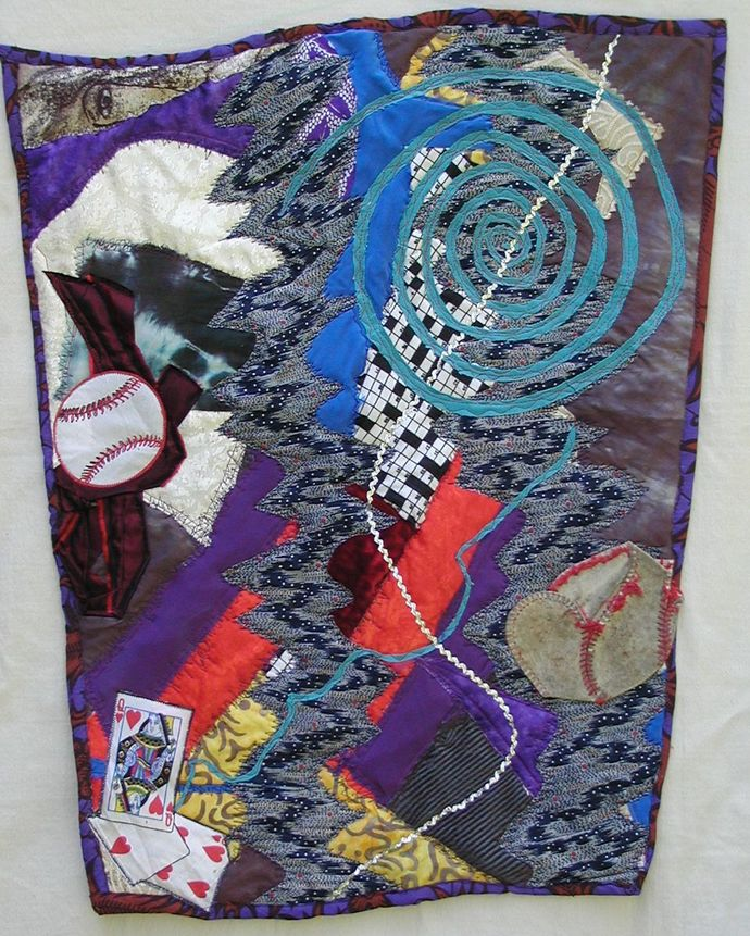 """It's How You Play the Game, a wall-hanging 19""""x24"""""""