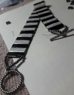 Black and White Tila Bead Bracelet