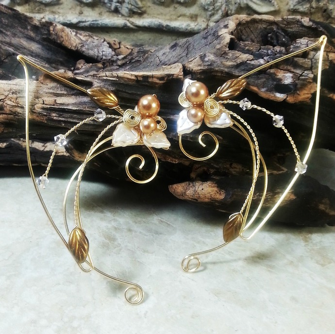 Golden Crystal Elf Ear Cuff Wraps Pair