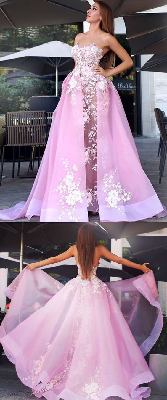 Sexy Strapless Prom Dress, A line Long Party Dress, Pink Backless Evening Dress