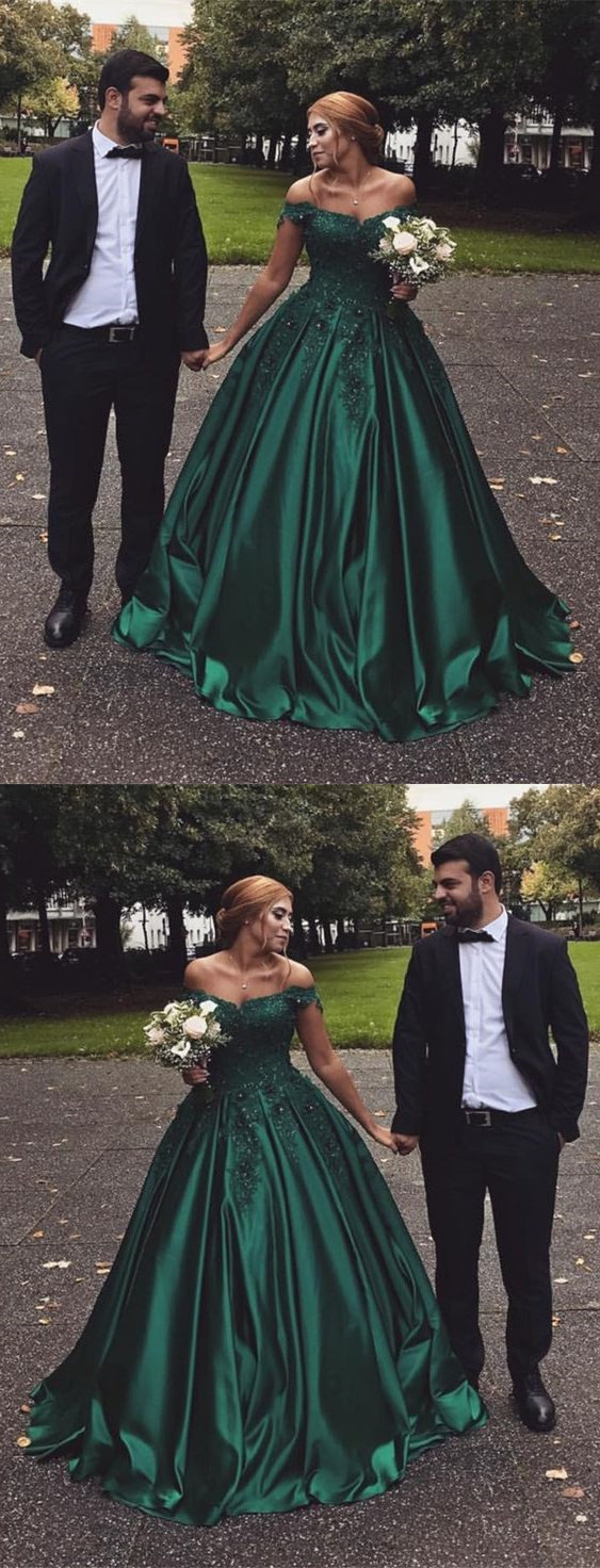 Hunter Green Satin Prom Dress, Ball Gowns by Miss Zhu Bridal on Zibbet