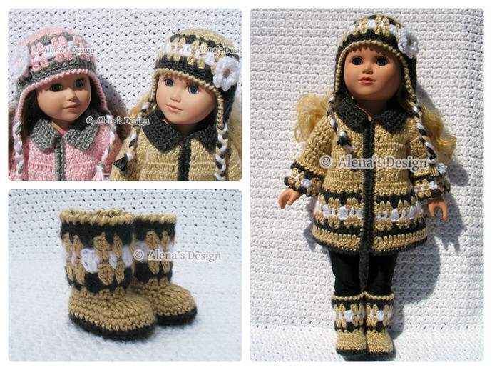 Crochet Pattern 3 PC Set for 18 in Doll - Crochet Patterns - Jacket, Boots and