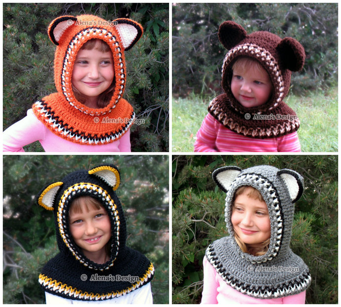 9c81cc19be0 Crochet Cowl Pattern 139 - Hooded Cowl with Ears 2 - Crochet Patterns -  Wolf Fox