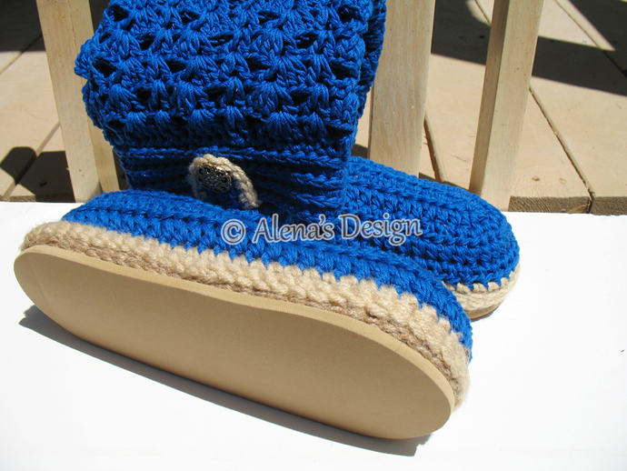 Crochet Boot Pattern - Crochet Pattern 138 for Elegant Women's Boots - Boot