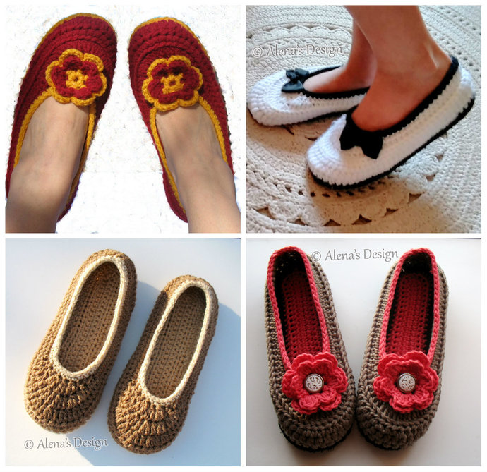 Women's Slippers Amy Crochet Pattern 074 Crochet Slippers Pattern  Flower