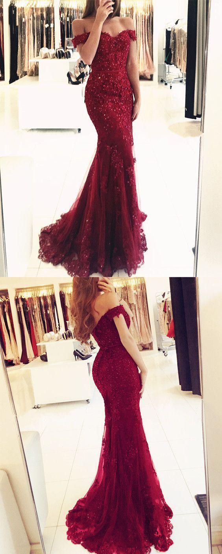f251ede81ccc Burgundy Mermaid Off The Shoulder Prom Dress - raveitsafe