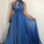 Simple v neck blue chiffon long prom dress, blue evening dress
