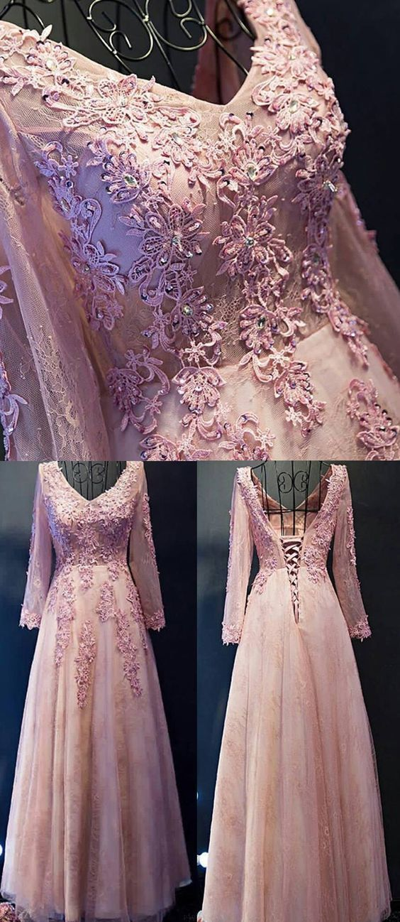 Cheap Long Prom Evening Dress Comely Pink Evening Dresses With Tulle V-Neck Lace