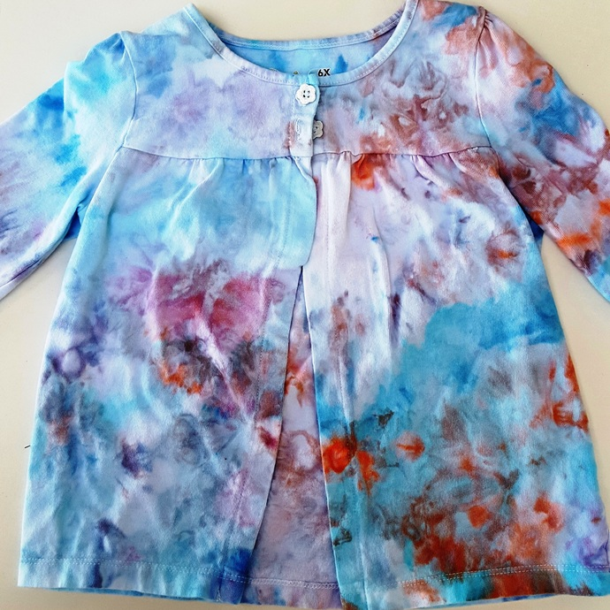 Girl's  Cotton Sweater - Pretty Blue and Peach Colors- Ice Dyed Top - Size 6X