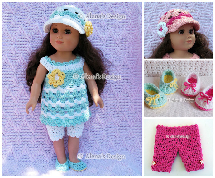Crochet Pattern 4 PC Set for 18 in Doll - Crochet Patterns - Lace Dress, Capris,