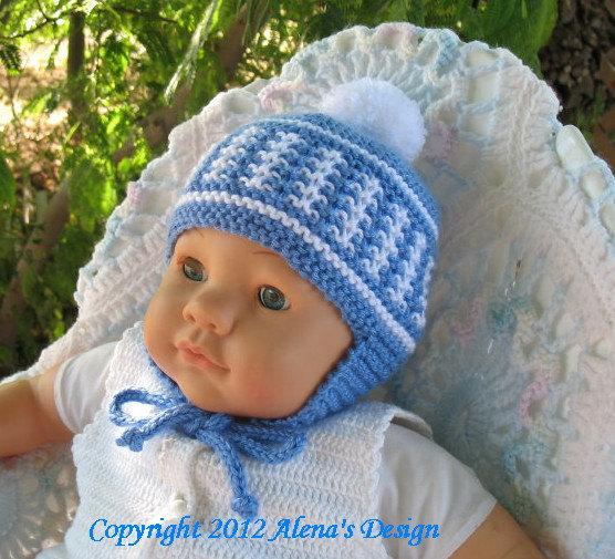 e769aa59344 Knit Pom-Pom Ear Flap Hat Knitting Pattern 017 Baby Boy Baby Girl Toddler  Child