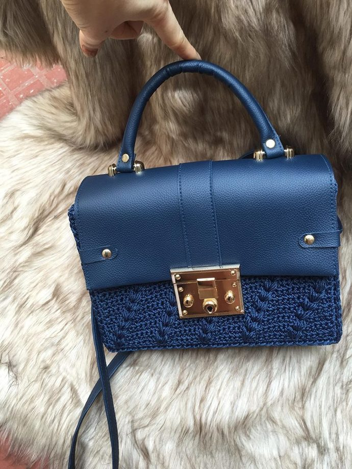 Navy bag with leather handle, 100% handmade