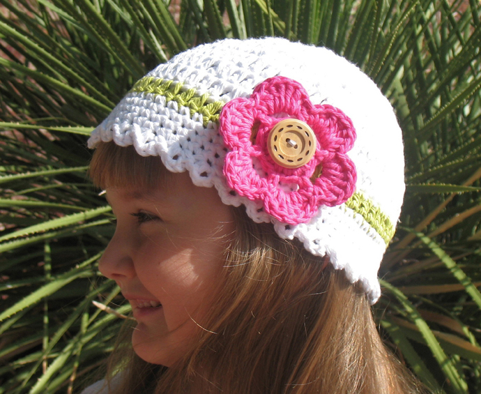 Free Crochet Pattern 081 Crochet White Hat By Alenasdesign On Zibbet