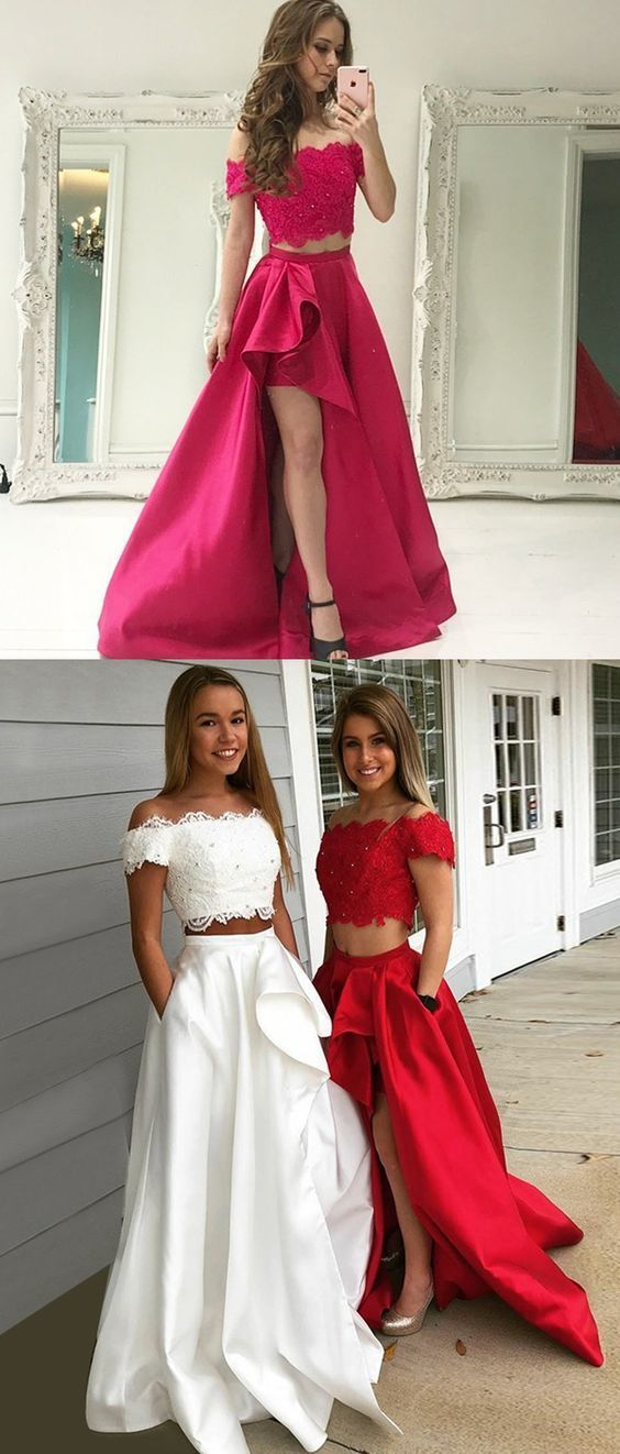 2a8a579e21a Two Piece Prom Dress Off-the-Shoulder Short Sleeves White Prom Dress with  Lace