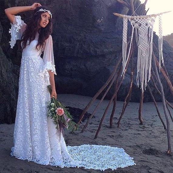 b3ceffc088e vintage lace long boho wedding dresses 2018 o neck half sleeve a line beach